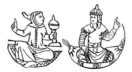 Диалог францисканца с монгольским нойоном. Прорисовка детали латинского поясного набора. Каффа (?). Конец XIV — XV в. [73]