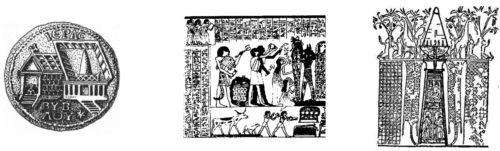 Древнейшие изображения архаичных башен в Вавилоне, Древнем Египте по прорисовкам З. З. Ситчина [7, 8].