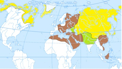 Карта географического распространения мировоззрения Тенгри